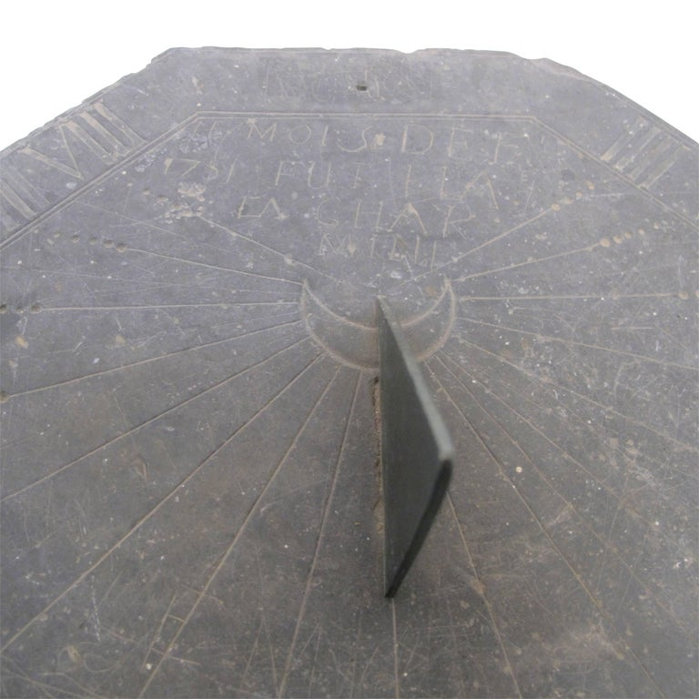 16th Century Slate Stone and Bronze Sundial For Sale 2
