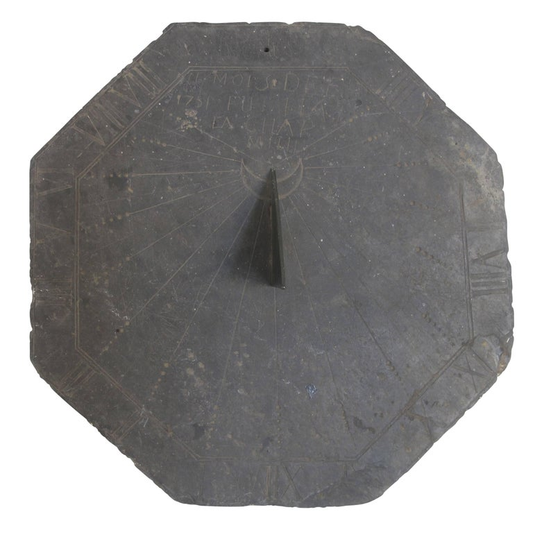 16th Century Slate Stone and Bronze Sundial For Sale 3