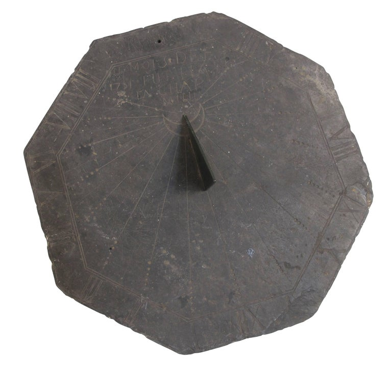 16th Century Slate Stone and Bronze Sundial For Sale 4
