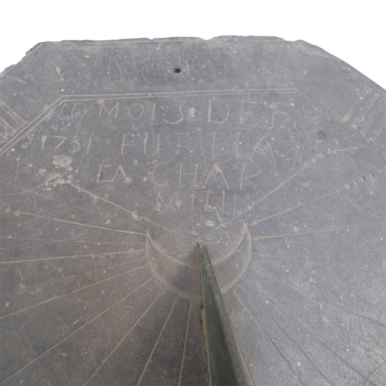 16th Century Slate Stone and Bronze Sundial For Sale 6