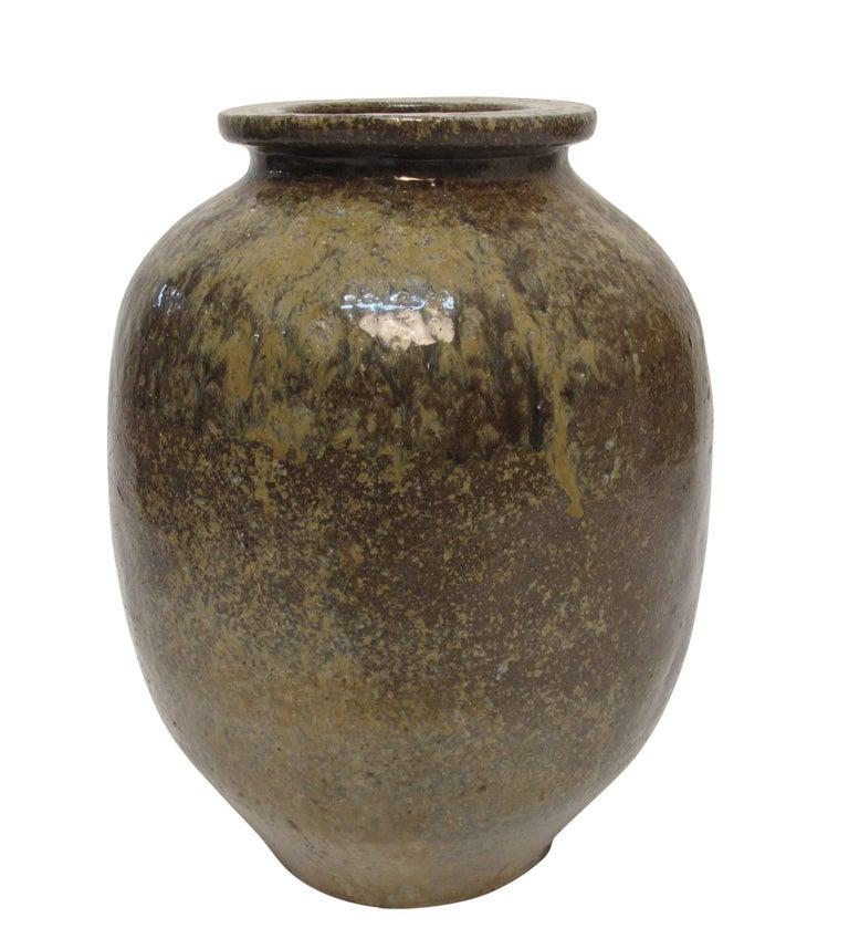 Fired 19th Century Japanese Stoneware Sake Jar Vessel For Sale