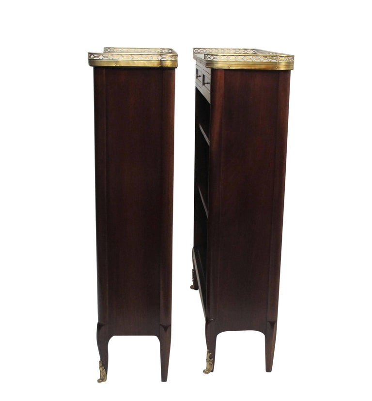 Brass Pair of French Louis XVI Style Mahogany Bookcases For Sale