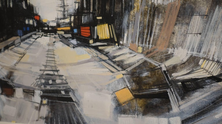 European Abstract Cityscape Painting by Max Gunther, Europe Midcentury, 1960s For Sale