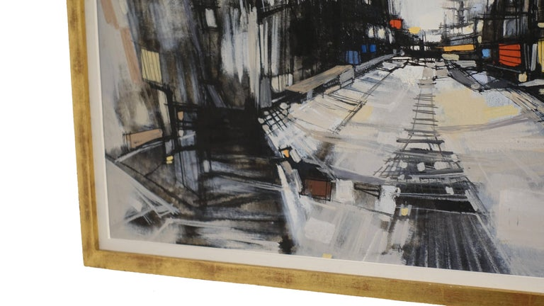 Hand-Painted Abstract Cityscape Painting by Max Gunther, Europe Midcentury, 1960s For Sale