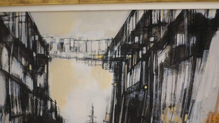 20th Century Abstract Cityscape Painting by Max Gunther, Europe Midcentury, 1960s For Sale