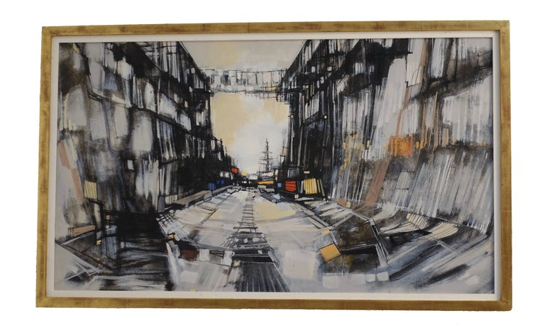 Abstract Cityscape Painting by Max Gunther, Europe Midcentury, 1960s For Sale 1