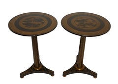 Regency Black Lacquer Side Tables with Chinoiserie Decoration, circa 1840, Pair