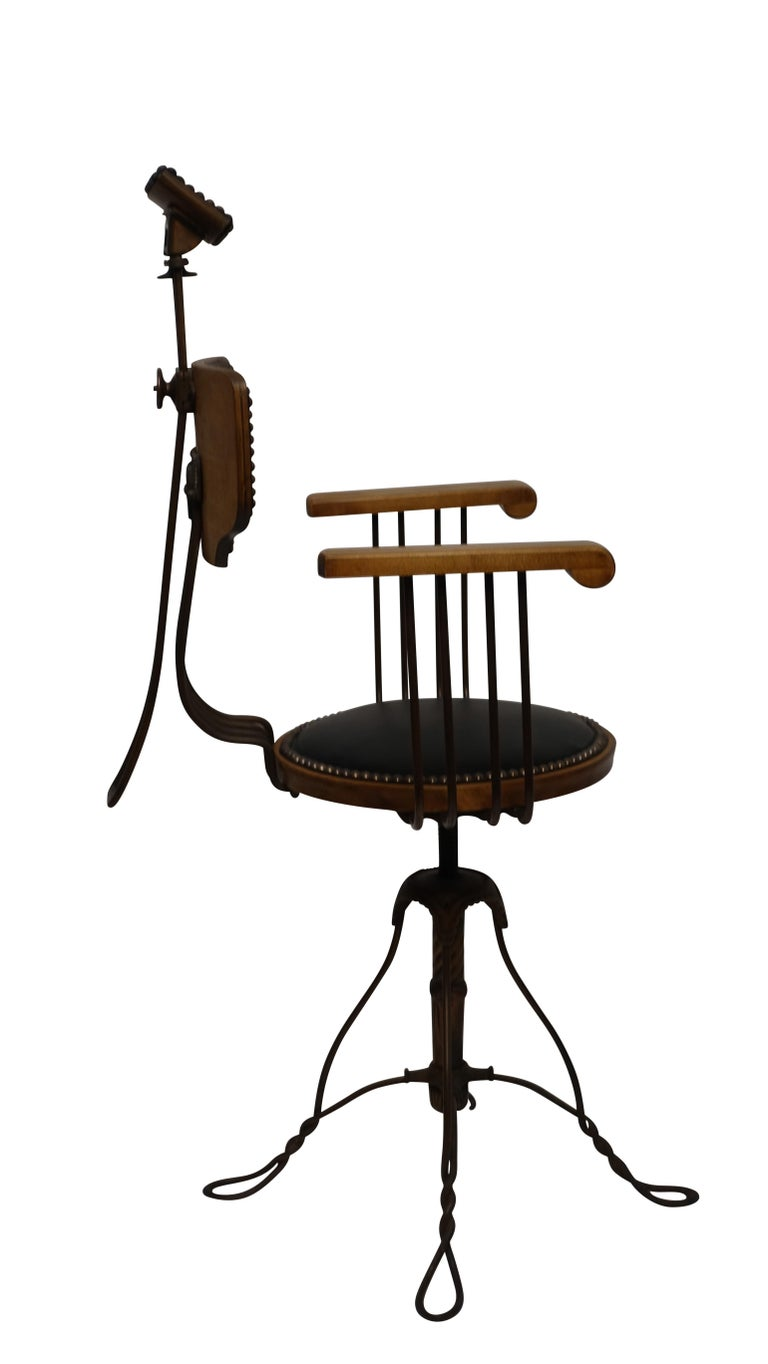 Steel Multi Adjustable Barber's Chair, American Early 20th Century For Sale