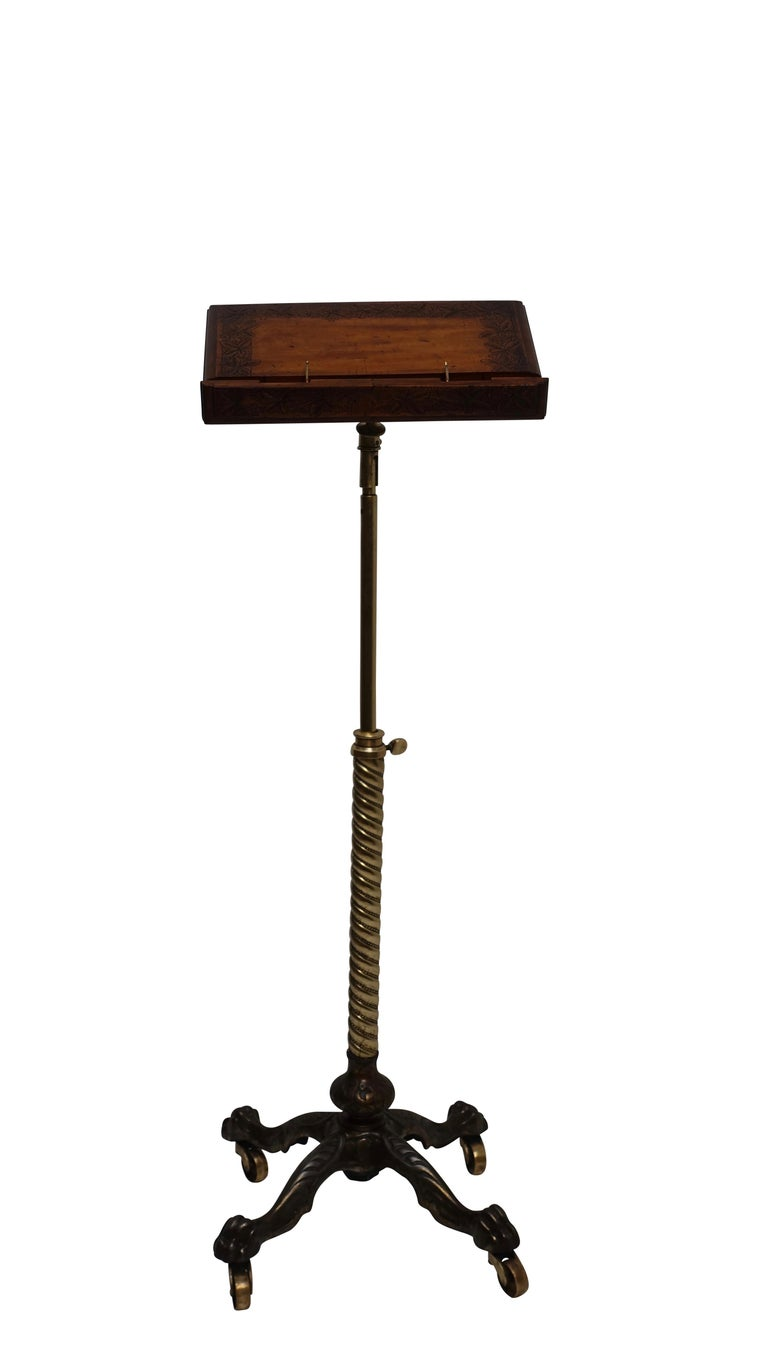Carved Cast Iron, Brass and Walnut Bookstand Podium, American, circa 1880 For Sale