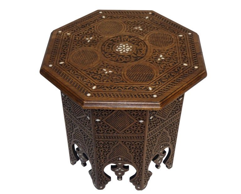 20th Century Pair of Moorish Style Carved and Inlay Tabouret Side Tables For Sale