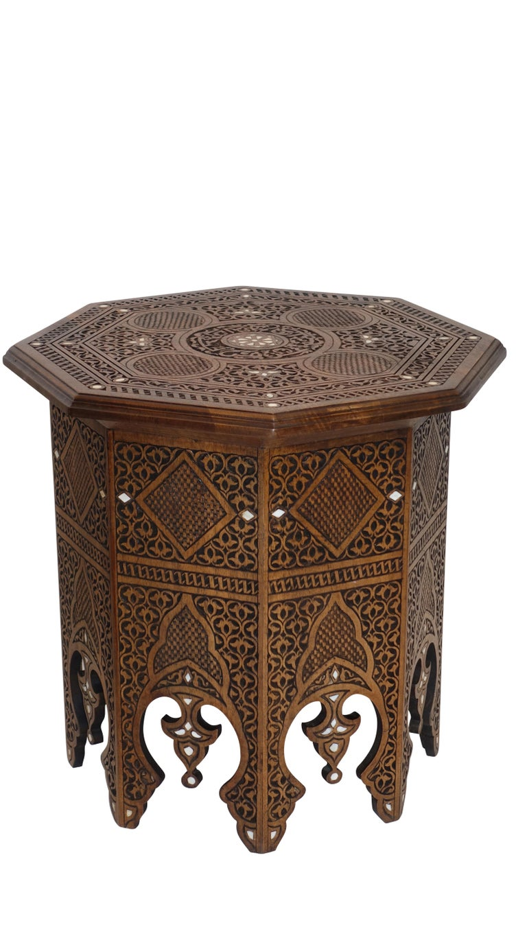 Pair of Moorish Style Carved and Inlay Tabouret Side Tables For Sale 1