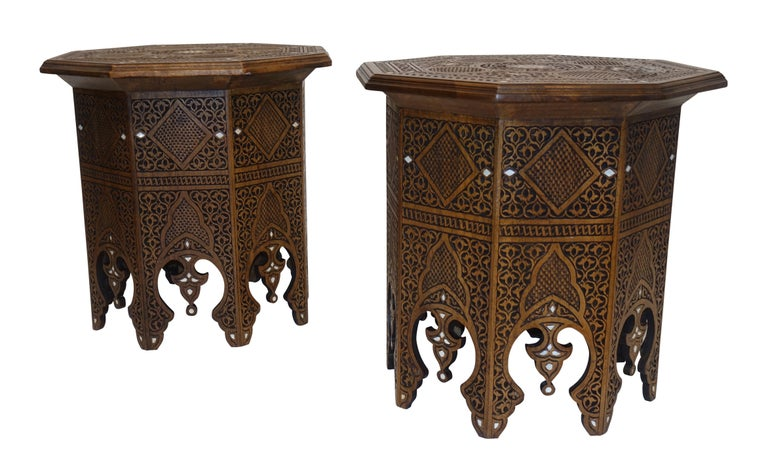 Pair of Moorish Style Carved and Inlay Tabouret Side Tables For Sale 3