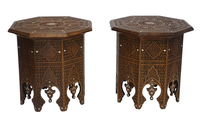 Pair of Moorish Style Carved and Inlay Tabouret Side Tables In Excellent Condition For Sale In San Francisco, CA