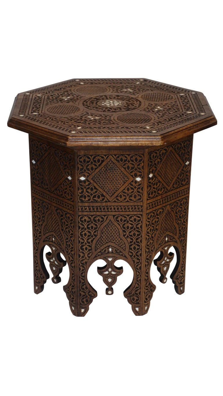 Bone Pair of Moorish Style Carved and Inlay Tabouret Side Tables For Sale
