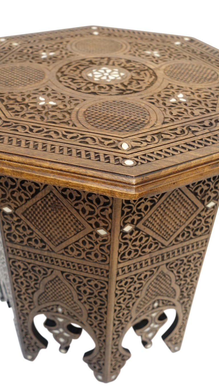 Pair of Moorish Style Carved and Inlay Tabouret Side Tables For Sale 2