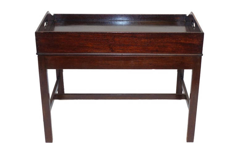 Georgian Mahogany Butlers Tray on Stand Coffee Table, English, circa 1840 For Sale 2