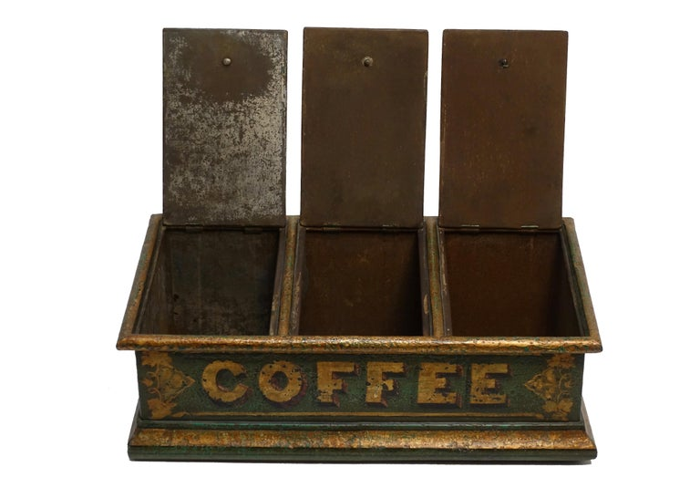 Gilt Green Tole Painted Coffee Bin Store Display Dispenser, England, 19th Century For Sale