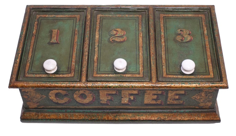 Wonderful old tole painted green and parcel-gilt store display bin for coffee, English, circa 1830, 19th century.