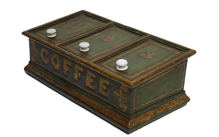 English Green Tole Painted Coffee Bin Store Display Dispenser, England, 19th Century For Sale