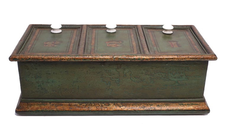 Green Tole Painted Coffee Bin Store Display Dispenser, England, 19th Century For Sale 2
