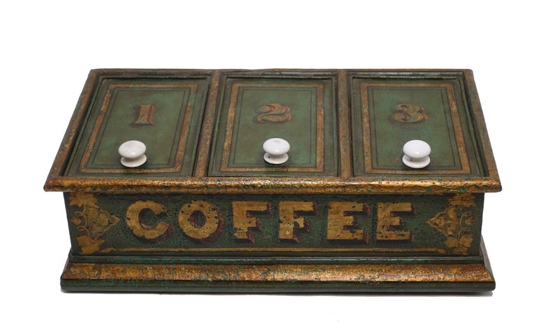 Green Tole Painted Coffee Bin Store Display Dispenser, England, 19th Century In Excellent Condition For Sale In San Francisco, CA