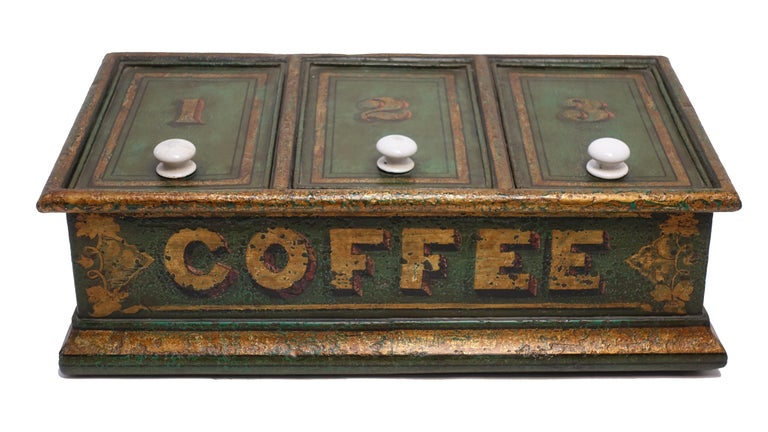 Tin Green Tole Painted Coffee Bin Store Display Dispenser, England, 19th Century For Sale