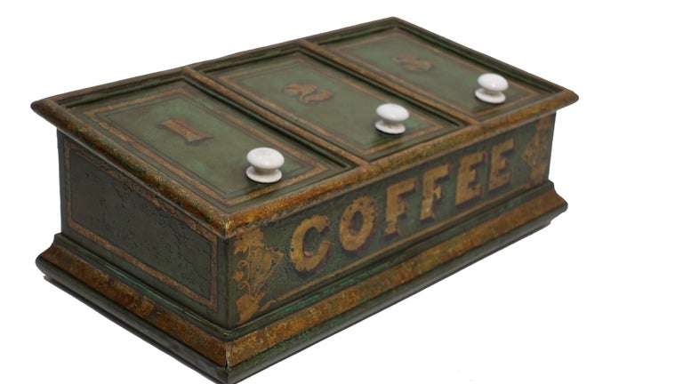Green Tole Painted Coffee Bin Store Display Dispenser, England, 19th Century For Sale 1