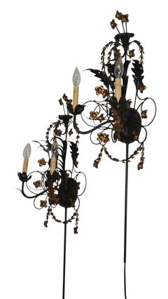 Pair of Black Iron and Tole Painted Two Light Sconces, American circa 1950's