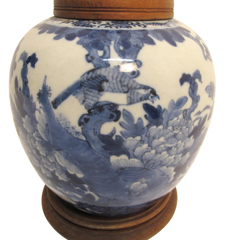 Porcelain Chinese Blue and White Ginger Jar Lamp, 19th Century For Sale