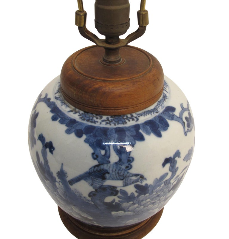 Chinese Blue and White Ginger Jar Lamp, 19th Century For Sale 1