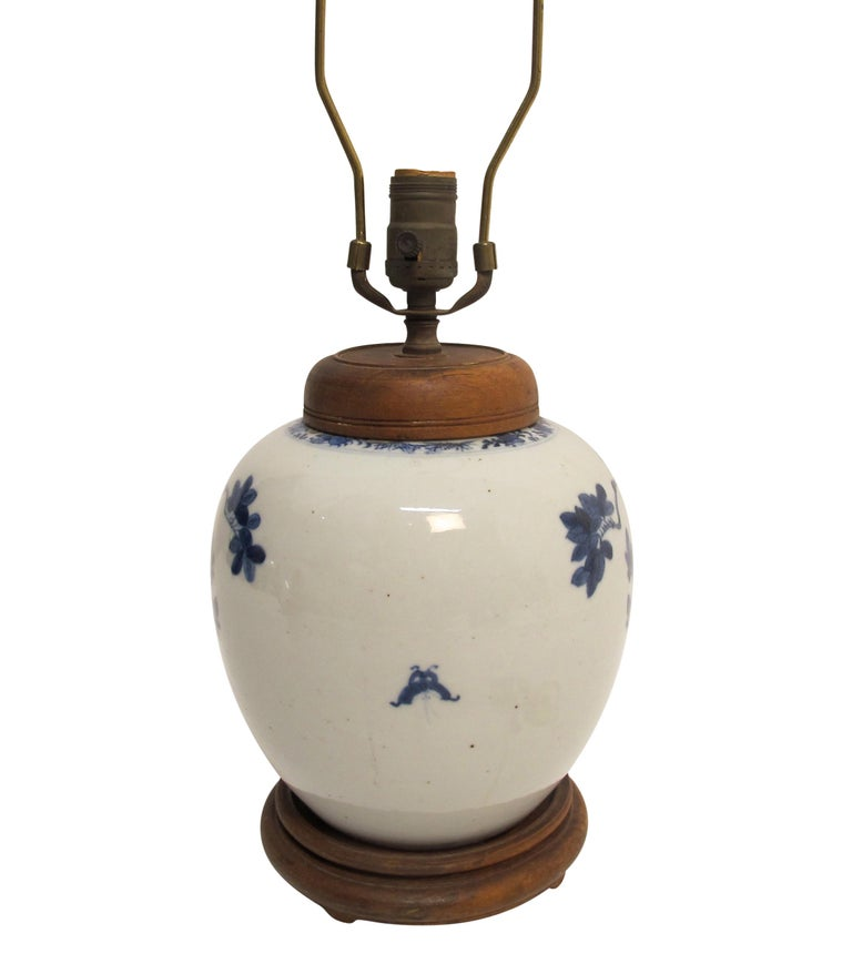 Chinese Blue and White Ginger Jar Lamp, 19th Century For Sale 2