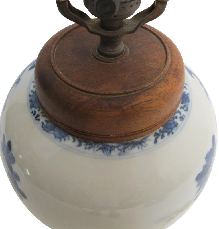 Chinese Blue and White Ginger Jar Lamp, 19th Century For Sale 3
