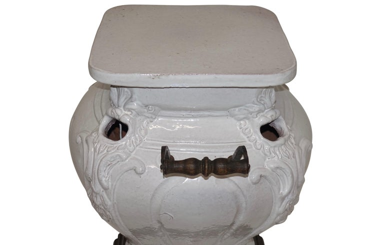 White Glazed Faience Ceramic Coal Heater or Plant Stand, French, 19th Century For Sale 5