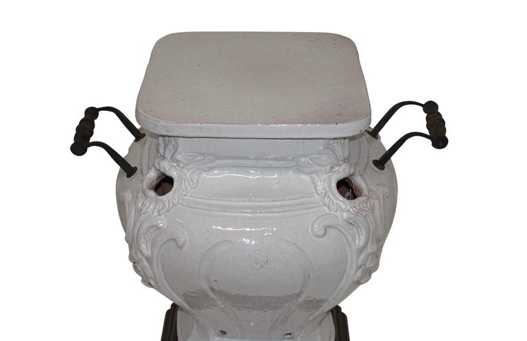 White Glazed Faience Ceramic Coal Heater or Plant Stand, French, 19th Century For Sale 2