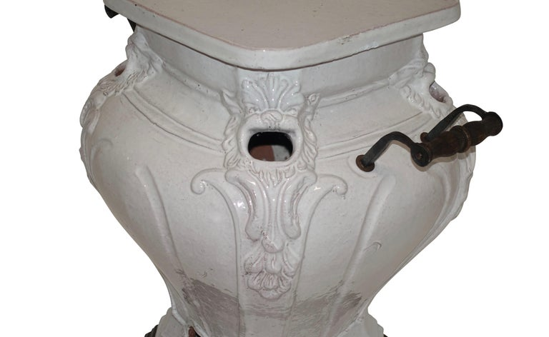 White Glazed Faience Ceramic Coal Heater or Plant Stand, French, 19th Century For Sale 4