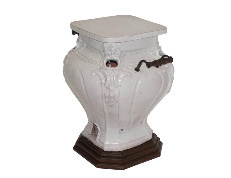 White Glazed Faience Ceramic Coal Heater or Plant Stand, French, 19th Century For Sale 1