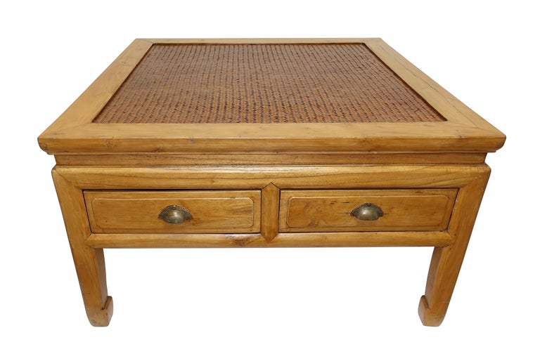 Chinese Low Table with Woven Panel Top In Excellent Condition For Sale In San Francisco, CA