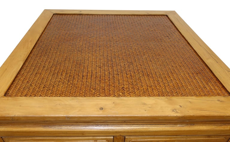 Wood Chinese Low Table with Woven Panel Top For Sale
