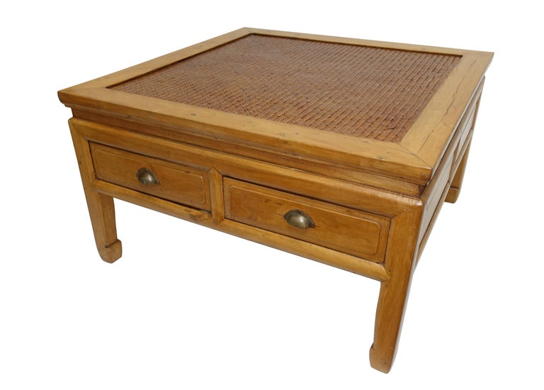 20th Century Chinese Low Table with Woven Panel Top For Sale