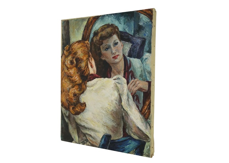 Painting of a woman sitting at her vanity mirror. Oil on canvas, unframed, signed Gail Cole (b.1914-d.1968). American, early to mid-20th century.