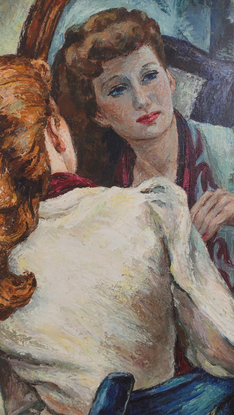 Canvas Impressionistic Portrait Painting of a Woman's Reflection, American, 1940s For Sale