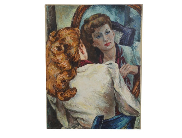 Impressionistic Portrait Painting of a Woman's Reflection, American, 1940s In Excellent Condition For Sale In San Francisco, CA