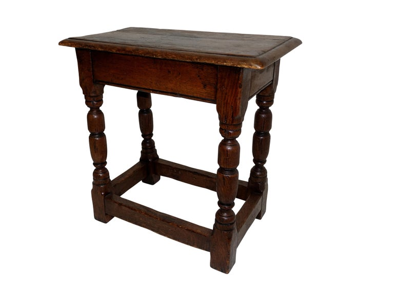 Antique Oak Stool, English, 19th Century In Excellent Condition For Sale In San Francisco, CA