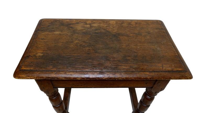 Antique Oak Stool, English, 19th Century For Sale 3