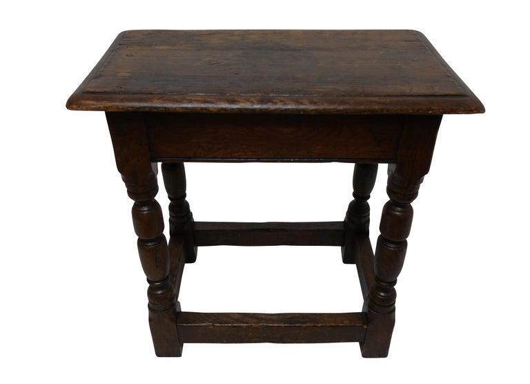 Antique Oak Stool, English, 19th Century For Sale 1