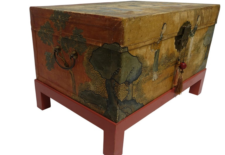 Brass Chinese Export Hand-Painted Leather Trunk on Stand, Early 20th Century For Sale