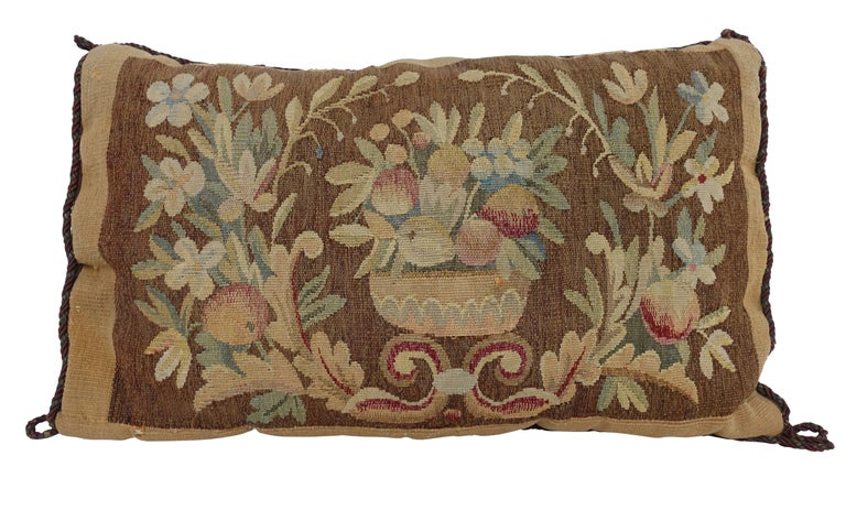 European 19th Century Tapestry Fragment Pillow For Sale