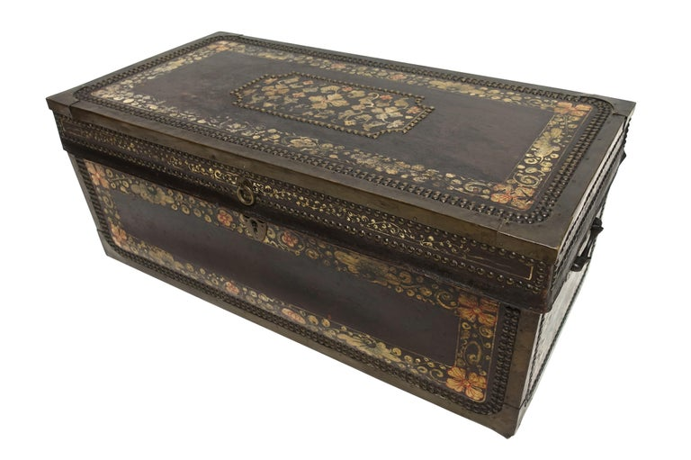 Hand-painted pigskin covered camphor wood trunk with metal nailhead and trim detail, China, mid-late 19th century.