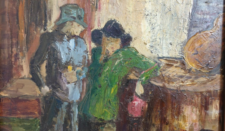 Hand-Painted Impressionist Style Bar Scene Painting Signed P. Archer, circa 1940 For Sale