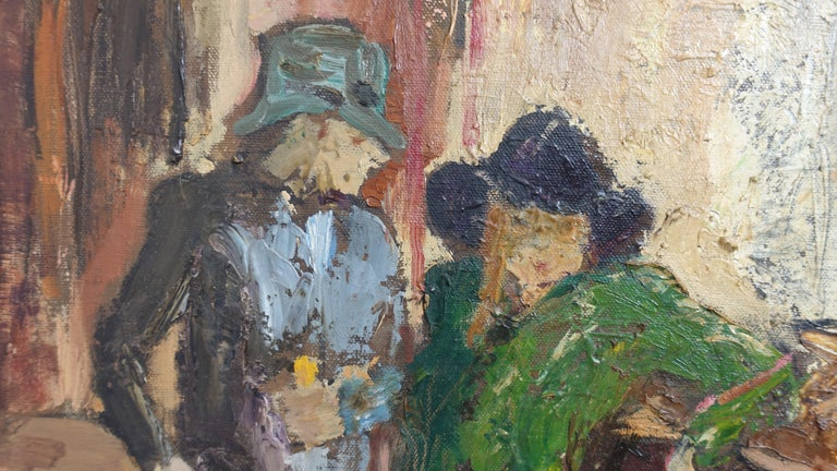 20th Century Impressionist Style Bar Scene Painting Signed P. Archer, circa 1940 For Sale
